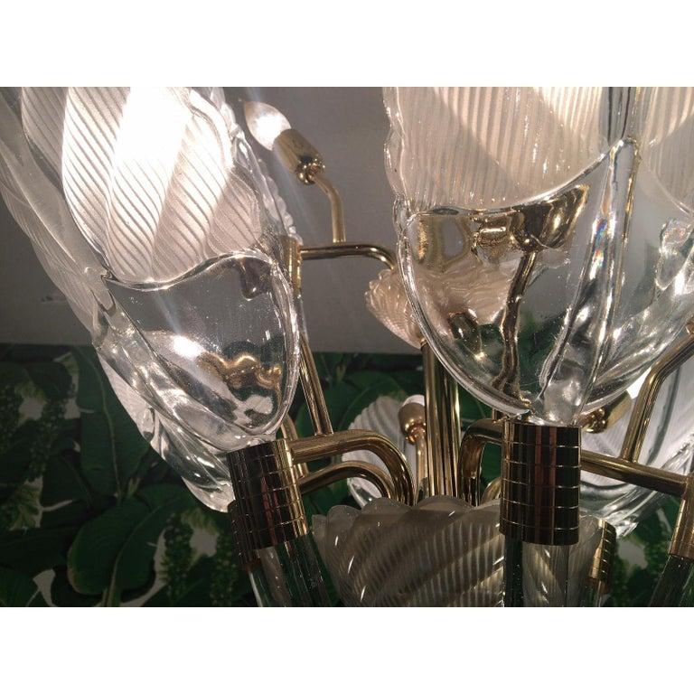 Hollywood Regency Murano Glass Palm Leaf Brass Chandelier