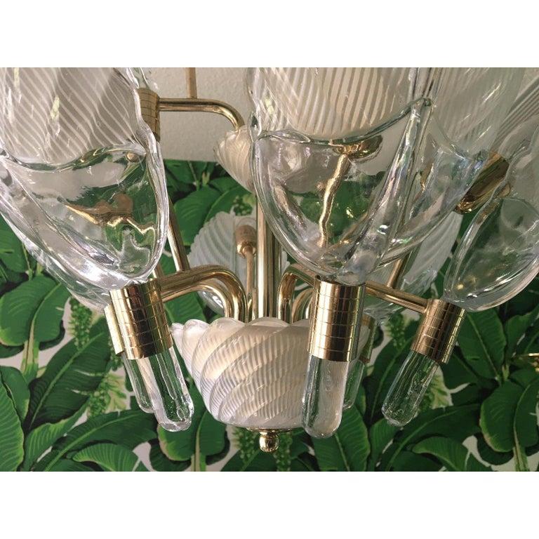 Murano Glass Palm Leaf Brass Chandelier In Good Condition In Jacksonville, FL