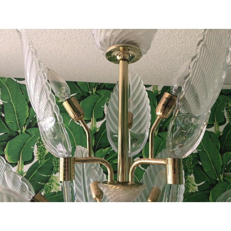 Late 20th Century Murano Glass Palm Leaf Brass Chandelier