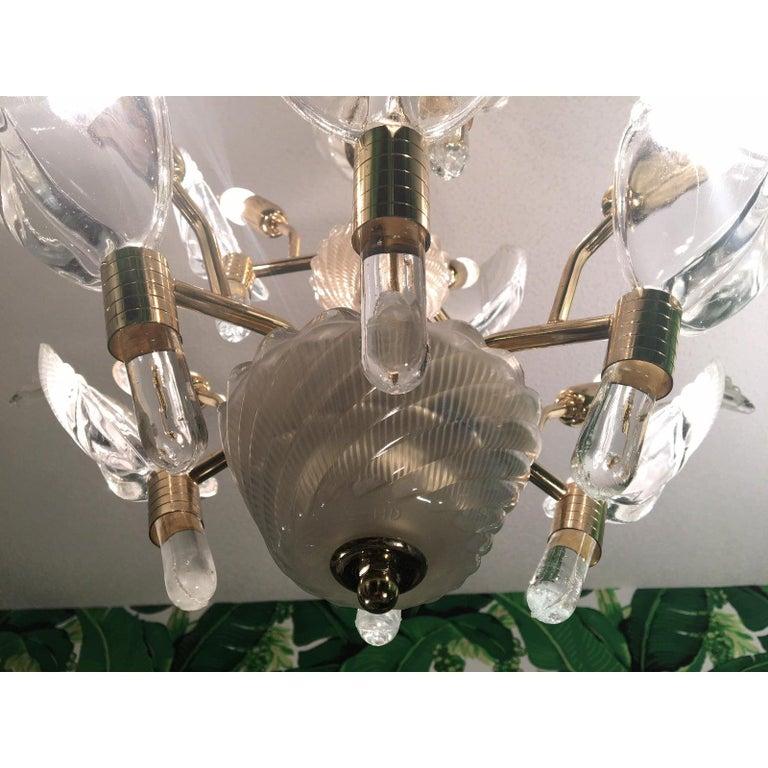 Murano Glass Palm Leaf Brass Chandelier 3