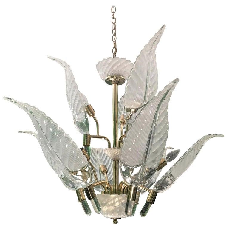 Murano Glass Palm Leaf Brass Chandelier