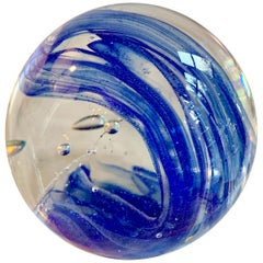 Murano Glass Paper Weight with Wave of Blue