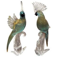 Murano Glass Parrot Sculptures