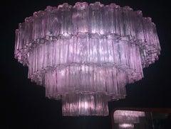 Murano Glass pink Amethyst  Tronchi Chandelier, 1970