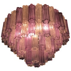 Murano Glass Pink and Ice Tronchi Chandelier, 1970