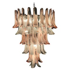 Murano Glass Pink and White Petals Chandelier Italian Modern, 1980s