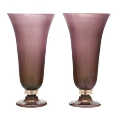 Murano Glass Purple Urn Lamps