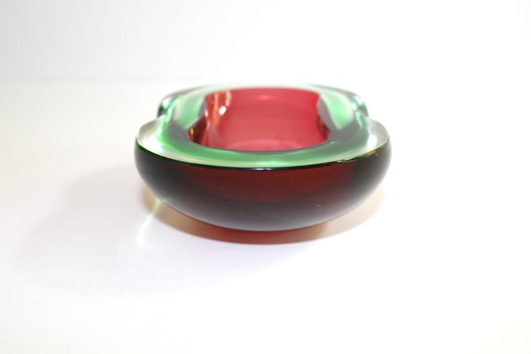 Art Glass Murano Glass Red and Green Sommerso Ashtray and Bowl, 1960s For Sale