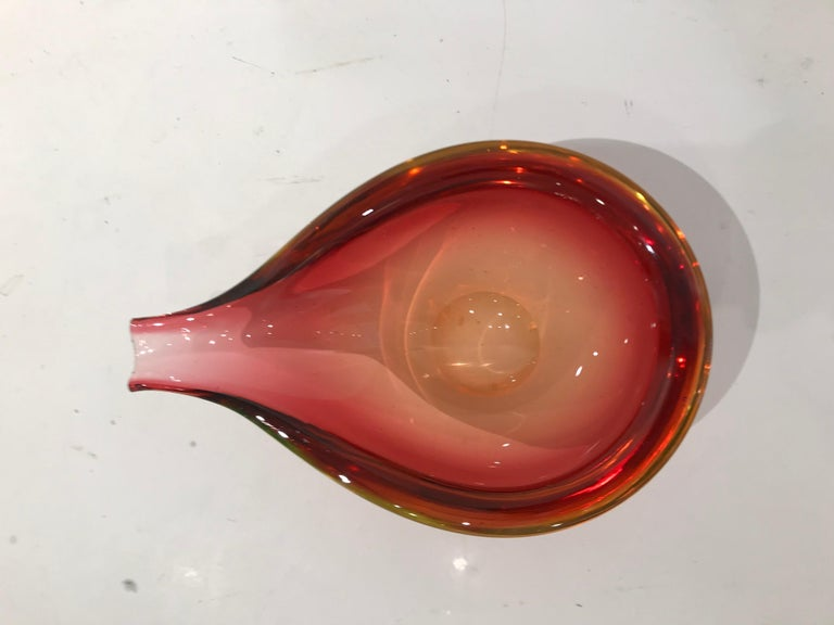 Murano Glass Red Pear Shaped Bowl For Sale 2