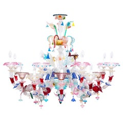 Murano Glass Rezzonico Chandelier Multicolored Flowers 16 Lights Late 20th Italy