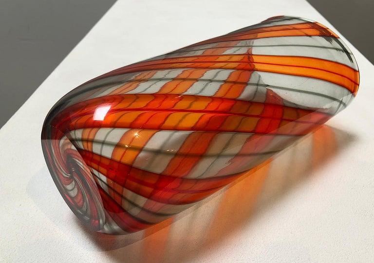 Italian Murano Glass Ribbon Vase For Sale