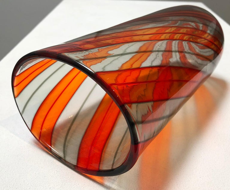Hand-Crafted Murano Glass Ribbon Vase For Sale