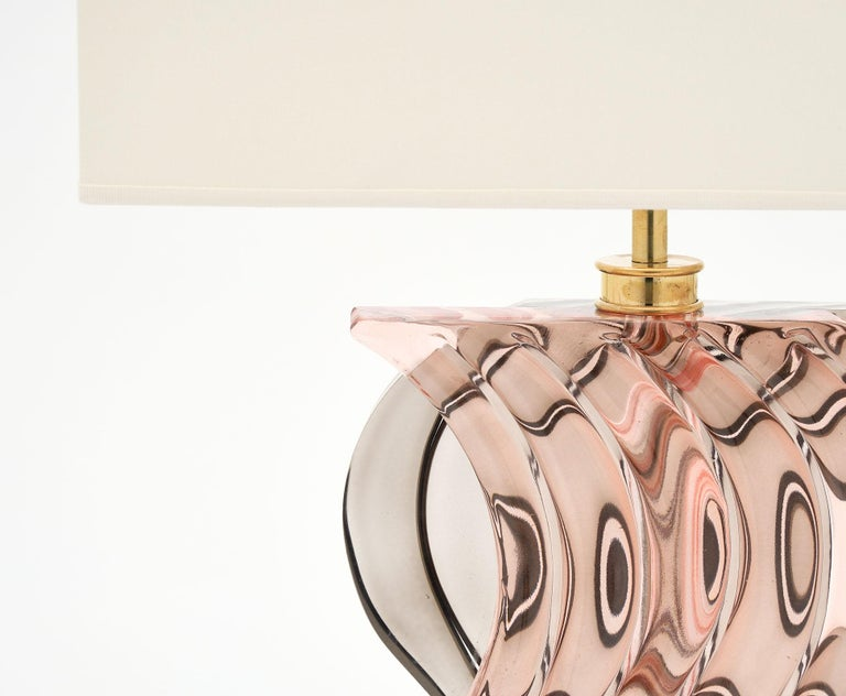 Mid-Century Modern Murano Glass Ridged Pink and Gray Lamps For Sale