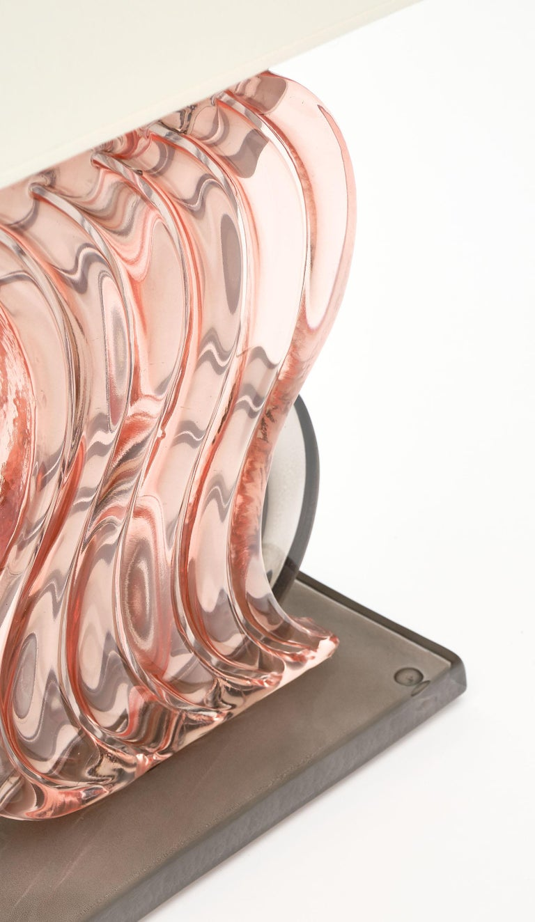 Italian Murano Glass Ridged Pink and Gray Lamps For Sale