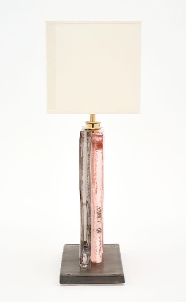 Contemporary Murano Glass Ridged Pink and Gray Lamps For Sale