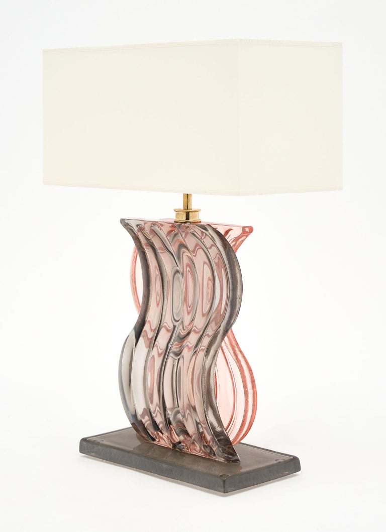Murano Glass Ridged Pink and Gray Lamps For Sale 1