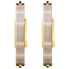 Murano Glass Rod and Brass Sconces