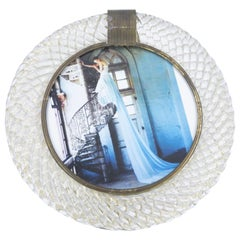 Murano Glass Round Picture Frame, Barovier & Toso Furnace, Made in Italy, 1980s