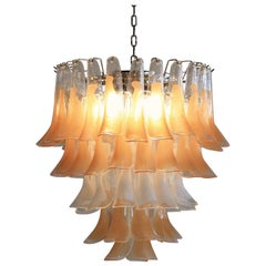 Murano Glass Saddle Form Chandelier 'Peach and White'