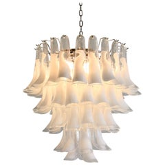 Murano Glass Saddle Form Chandelier 'White'