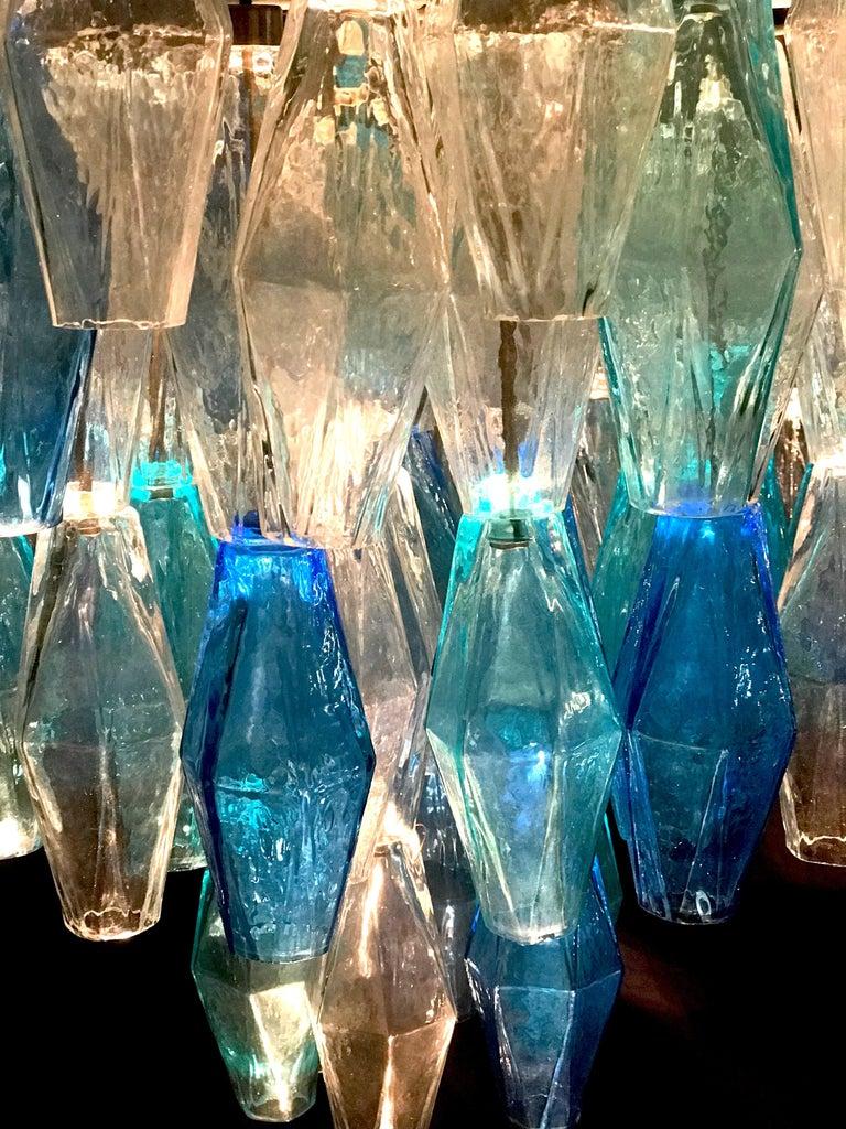 Murano Glass Sapphire Colored Poliedri Chandelier in the Style C. Scarpa For Sale 2