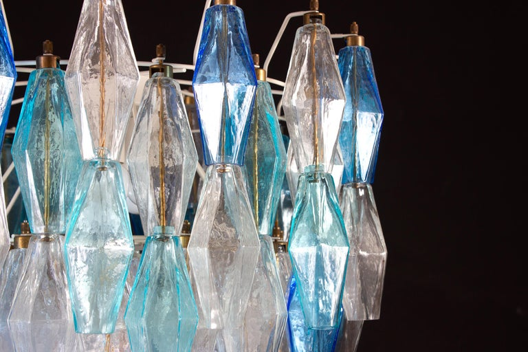 Murano Glass Sapphire Colored Poliedri Chandelier in the Style C. Scarpa For Sale 5