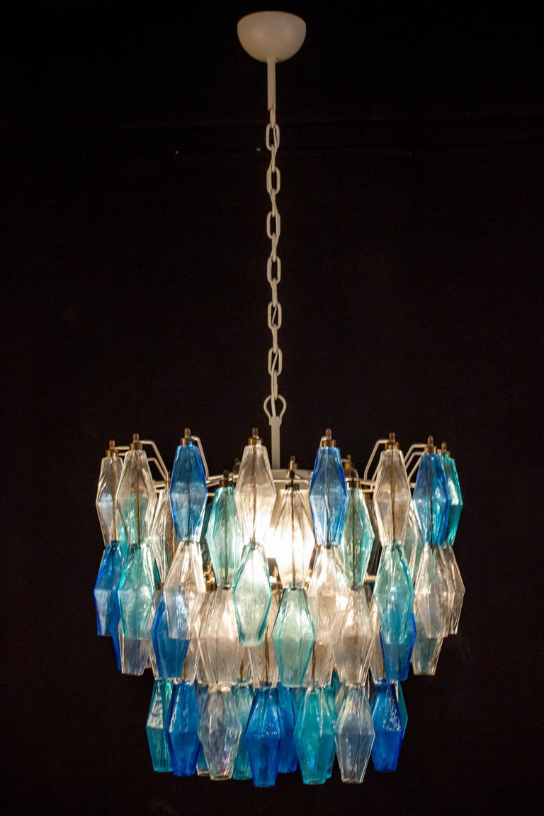 Mid-Century Modern  Murano Glass Sapphire Colored Poliedri Chandelier in the Style C. Scarpa For Sale