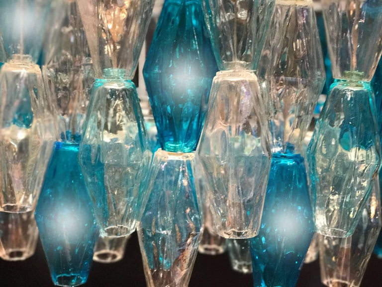 Painted  Murano Glass Sapphire Colored Poliedri Chandelier in the Style C. Scarpa For Sale