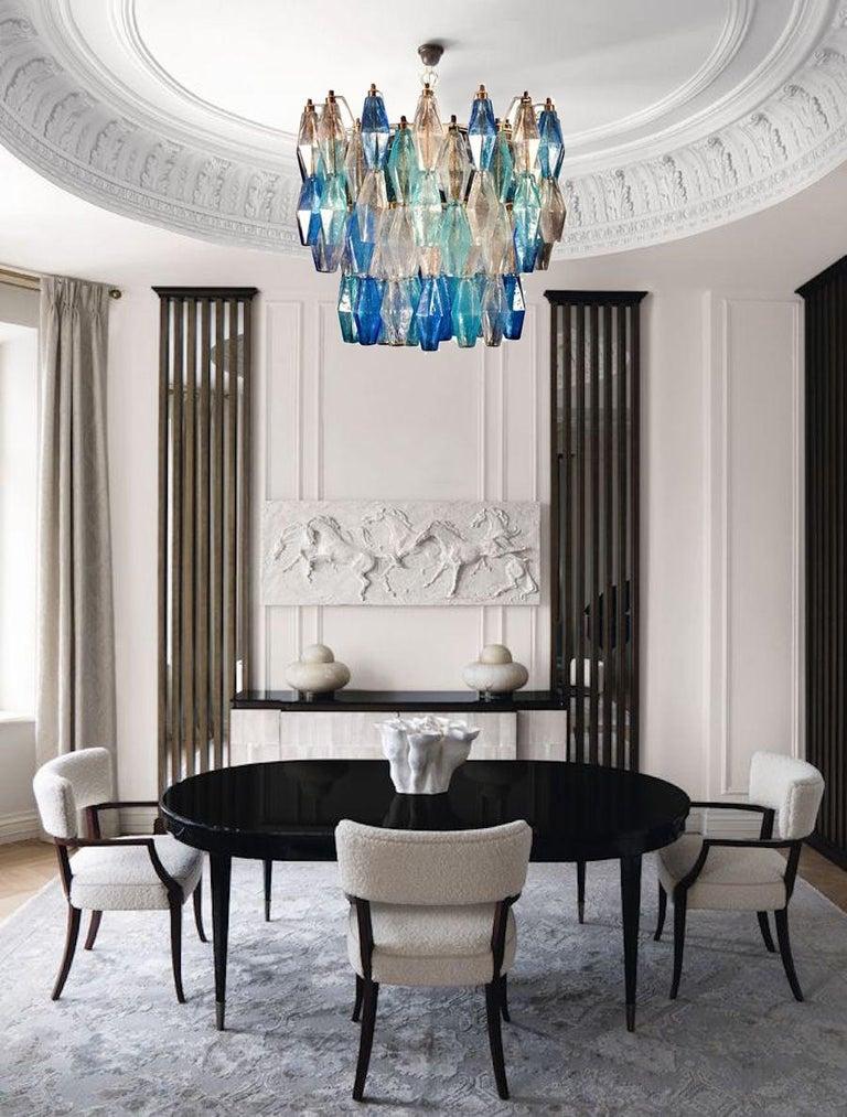 Metal  Murano Glass Sapphire Colored Poliedri Chandelier in the Style C. Scarpa For Sale