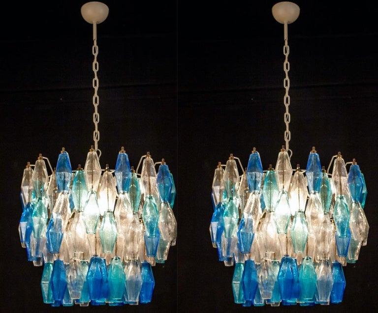 Murano Glass Sapphire Colored Poliedri Chandelier in the Style C. Scarpa For Sale 1