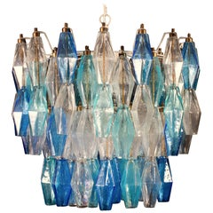 Murano Glass Sapphire Colored Poliedri Chandelier in the Style C. Scarpa