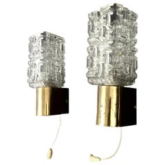 Murano Glass Sconce, Brass fitting, Pair