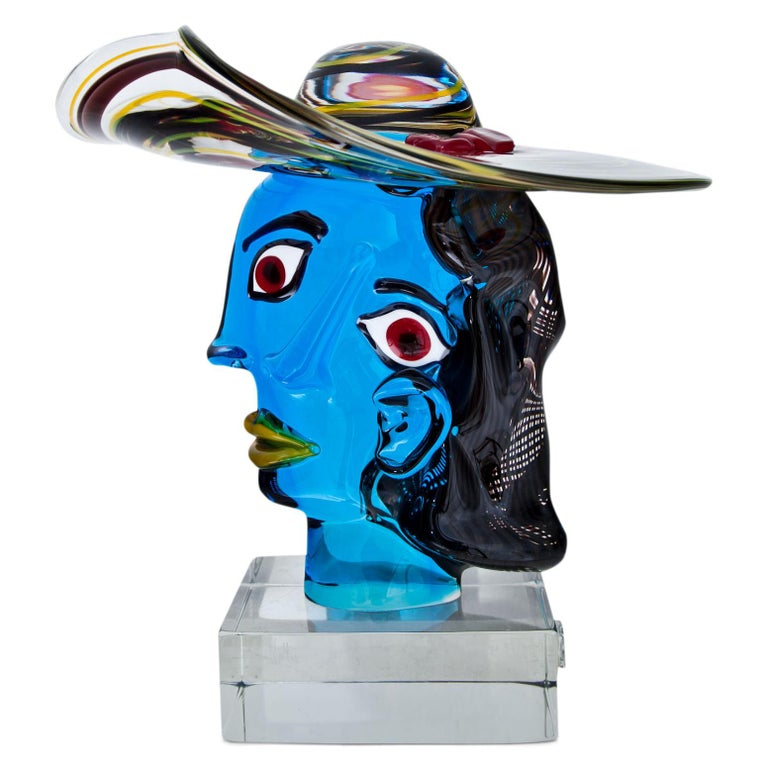 Polychrome glass sculpture of the head of Marie-Thérèse Walter after Picasso's masterpiece. By Walter Furlan (born 1931) for Signoretti. Signature, title and manufacture stamp on the base.