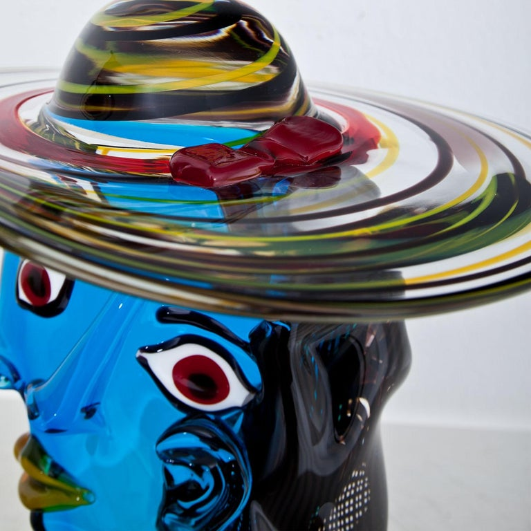 20th Century Murano Glass Sculpture 'Omaggio a Picasso' by Walter Furlan
