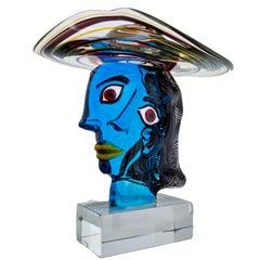 Murano Glass Sculpture 'Omaggio a Picasso' by Walter Furlan
