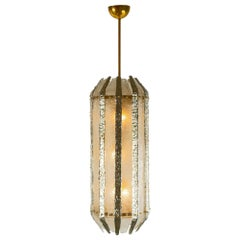 Murano Glass Silver and Clear Glass Lantern