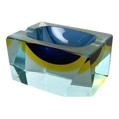 "Murano Glass Sommerso ""cubic"" Ashtray Element by Flavio Poli Attrib Italy, 1970s"