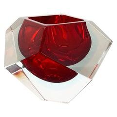 "Murano Glass Sommerso ""diamond"" Bowl Ashtray Element by Flavio Poli Italy, 1970s"