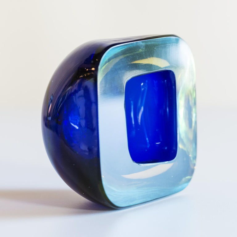 Mid-Century Modern Murano Glass Sommerso Square Bowl in Blue and Yellow, 1960s For Sale