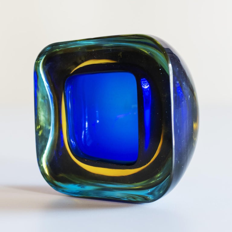 Polished Murano Glass Sommerso Square Bowl in Blue and Yellow, 1960s For Sale