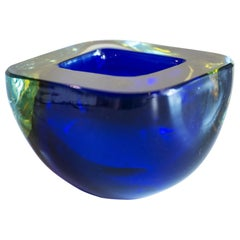 Murano Glass Sommerso Square Bowl in Blue and Yellow, 1960s