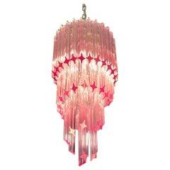 Murano Glass Spiral Chandelier, 54 Quadriedri Pink Prisms