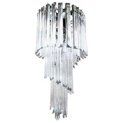 Murano Glass Spiral Chandelier, Venini Style