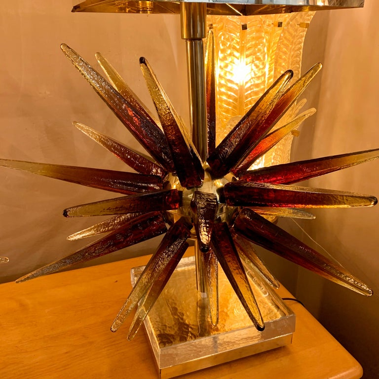 Modern Murano Glass Sputnik Table Lamp with Square Brass Lampshades, 1970s