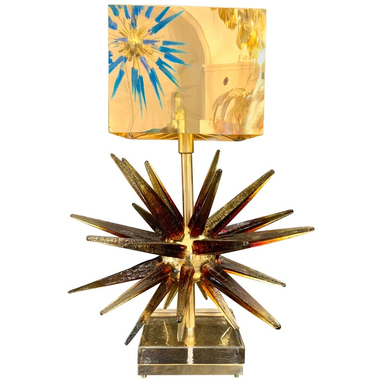 Murano Glass Sputnik Table Lamp with Square Brass Lampshades, 1970s In Excellent Condition For Sale In Florence, IT