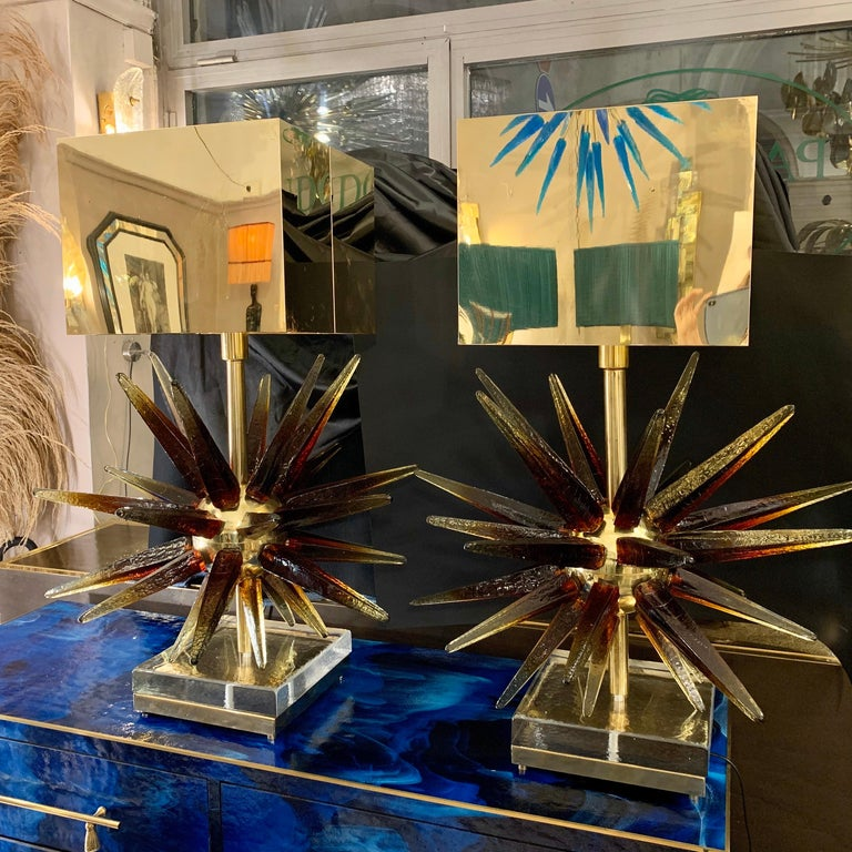 Late 20th Century Murano Glass Sputnik Table Lamp with Square Brass Lampshades, 1970s