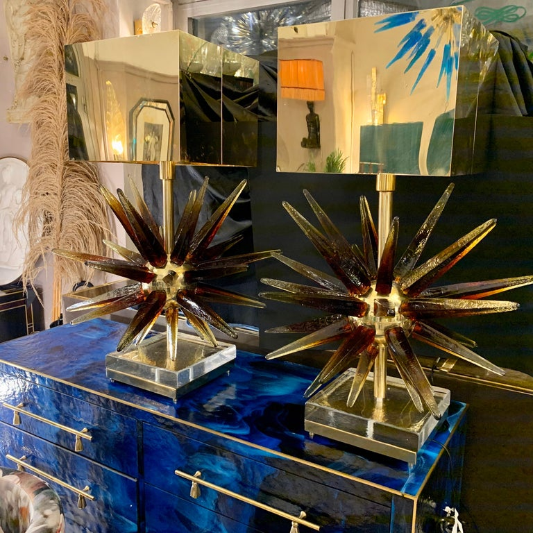 Murano Glass Sputnik Table Lamp with Square Brass Lampshades, 1970s 1
