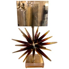 Murano Glass Sputnik Table Lamp with Square Brass Lampshades, 1970s