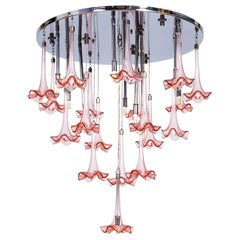 Murano Glass Stylized Flush Mount with Pink Flowers Led, Giovanni Dalla Fina