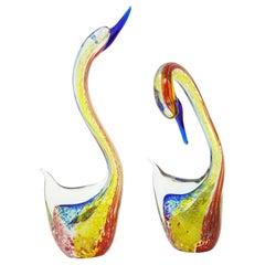Murano Glass Swans Sculptures